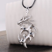 Fashion Women Men Necklace Chain Silver dragon shape pendant with Leather Chain