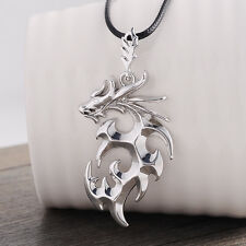 Fashion Casting Dragon Men's Necklace Pendant with Leather Chain Jewelry Gift