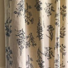 Handmade Oatmeal Washed Linen Botanical Curtain Drapery Panel 84 90 96 in Length