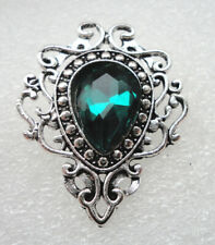 Victorian Style Gothic Brooch Vampire Costume Jewelry Green Crystal #3