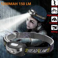 Waterproof Motion Sensor LED Headlamp Headlight USB Rechargeable Head Lamp Torch