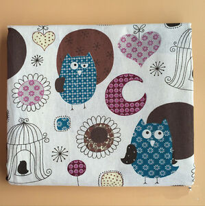 50x150cm Cotton Linen Fabric DIY ZAKKA Home Deco Print Blue Owls Birdcage 101 B#