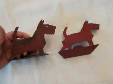 Set Of Metal Scottie Dog Book Ends Painted Red
