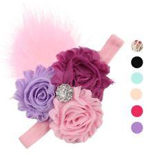 Fascia per capelli con piuma/Fascia per capelli neonata doppio fiore e strass