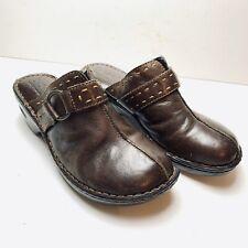 BOC BORN CONCEPT Brown Genuine Leather Mules Clogs Slip On Comfort Shoes sz 9