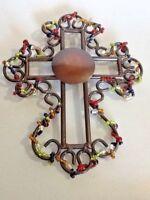 "Wrought Iron Cross & Color glass beads Wall art decor Spirituality 8 x 10"" India"