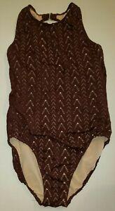 shape FX SWIM SWIMMING SUIT womens size 16 chocolate brwon panel bra top NICE @@