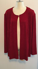 NWT Coldwater Creek Womens Size 2X Red Glitter Long Sleeve Cardigan Button Open
