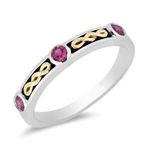 Enchanted Disney Yellow Gold over Sterling Silver & Ruby Evil Queen Stack Ring