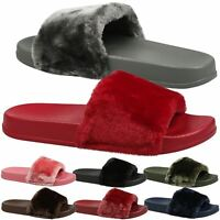 Romy Womens Slip On Fur Flats Sandals Flip Flops Ladies Shoes Sliders Size New