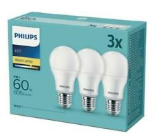 60W LED Lights A60 E27 Warm White 220-240V Frosted Bulb 3CT/6 DISC PHILIPS 3pcs