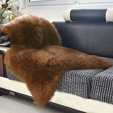 2.1'x3.3' Australian Sheepskin Rug Natural Fur Sofa Thick Soft Brown Carpet