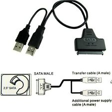 "External PC SSD Hard Disk Drive Adapter USB To SATA 2.5"" Converter Lead Cable UK"