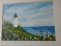 Folk Art Primitive Painting Lighthouse Ocean Seascape Nautical Sailing Vintage