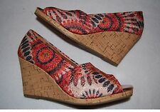 """Womens Shoes WEDGE 3.5"""" HIGH HEELS Peep Toe RETRO FLORAL CIRCLES FABRIC Size 5.5"""