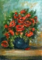 ACEO Poppies vase abstract flowers original painting acrylic art card sign