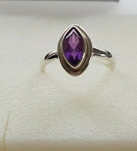 925 Sterling Silver Amethyst ring with  faceted  stone size O good solid,
