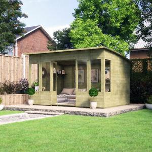 12 x 8 Pressure Treated Verano Wooden Garden Summerhouse with T&G Sunroom