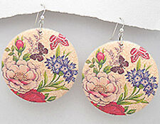 """2.8"""" long Gorgeous BIG Painted Butterfly Pink Flowers Wood Dangle Earrings"""