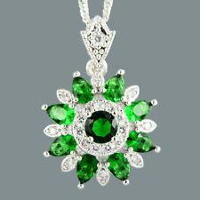 6279b330d73f Redondo Verde Esmeralda 18K Oro Blanco Plateado Flor Colgante Collar  Cadenilla