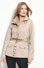 GUESS Pink Berry Ruffle Hooded Zip Military Trench Jacket Coat Sz S NWOT $200