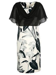 Marken Kleid mit Chiffonüberwurf schwarz-weiss Gr. 50 0519254256