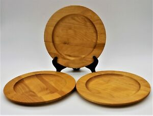 """Williams Sonoma by John Mclead 3 Wooden Salad Plates Crafted Vermont 9 1/2"""""""