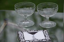 Vintage Etched Cocktail Martini Glasses, Set of 4, Vintage Champagne Coupes