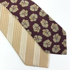 LOT of 2 Giorgio Armani Neck Ties 100% Silk Maroon Floral Gold Striped