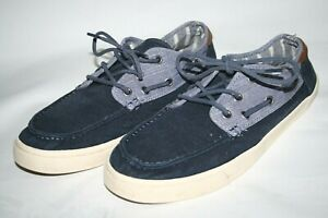TOMS Men's Casual Navy Blue Canvas Boat Shoes Lightweight Lace Trainers Size10UK