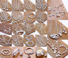 Womens Fine Jewellery 925S Solid Silver Bracelet Necklace Ring Earrings Sets