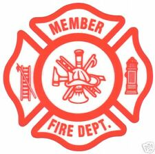 FIRE DEPARTMENT MEMBER with Maltese Cross - Inside Window Static Cling Decal
