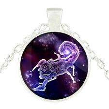 Aries Zodiac Vintage Necklace Jewelry Fashion Silver Glass Cabochon Zodiac Sign