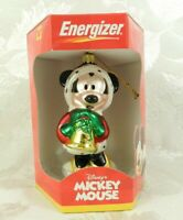 NIB Energizer Disney Mickey Mouse Glass Christmas Ornament Minnie Mouse w-Bell