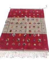 moroccan rug berber Kilim Akhnif Gray Medium Area Rug 5.2x3.3ft