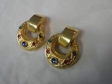 Ben Amun Emerald Ruby Saphire Goldtone Dangle Hoop Clip Earrings
