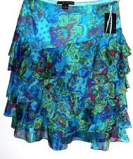 NWT $998. RALPH LAUREN  BLACK LABEL 100% SILK SIZE 8 FLORAL SKIRT