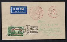 1934 Great Britain rocket mail cover - Sussex Downs green - to Berlin - Ez 2C1b