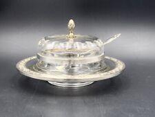 Gaston Bardiès Pot à caviar verre argent c. 1900 Antique glass silver caviar pot
