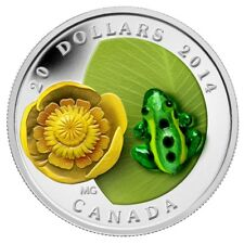 Water-Lily And Venetian Glass Leopard Frog - 2014 Canada $20 Fine Silver Coin