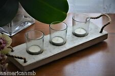 Weathered Wood Candle Holder Recessed Modern Tealight Tea Light Table Top Glass