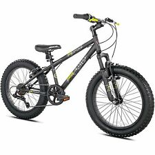 """20"""" Boys' Fat Tire Mountain Bike Hardtail Bicycle Black Silver Steel Frame New"""