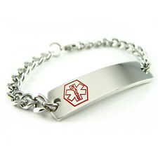 MyIDDr - Pre Engraved - GLUTEN ALLERGY Medical Alert ID Bracelet, Curb Chain
