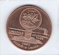 Token - Sudbury, Canada - CH BU Cent - Canada's 1967 Centennial - 38 MM Copper