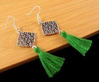 Bohemian Pair of Tibetan Style Dangle Earrings with Green Cotton Tassels #1099