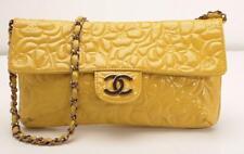 CHANEL Patent Yellow Camellia Flap Bag Chain CC LOGO Clutch Handbag Purse