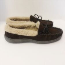 Clarks Marcus Comfort Mens 10 M Indoor Outdoor Brown Leather Slippers Faux Fur