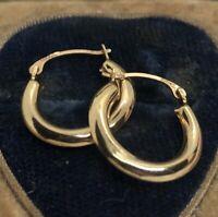 10k Gold Estate Vintage Earrings Hoops Israel Marked Simple Plain