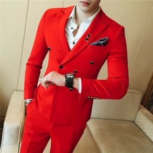 Men's Business Waistcoat Coat&pants Suits Wedding Dress Formal Double Breasted