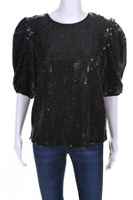ENGLISH FACTORY Womens Short Puff Sleeve Sequin Top Black Size Small